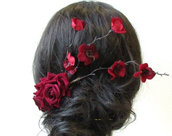 Deep Red Rose Cherry Blossom Sakura Hair Comb Fascinator Headpiece Burgundy 1590