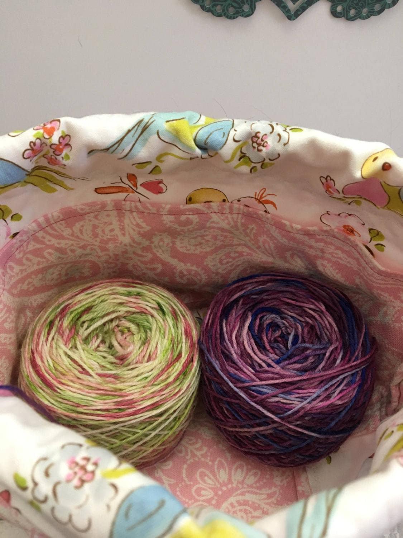 Knitting Project Bag-Pink Paisley Canvas Toadstool Bag,Toad Hollow Bag,Crochet Project,Sock bag,yarn keeper,wedge knitting ,drawstring bag