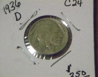 1936 D Buffalo Nickle (C24)