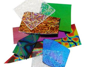 CBS Dichroic Combo Scrap Pack-1/4 lb Lot-COE 90-On Black & On Clear Mix-Dichroic Glass-Scrap Glass