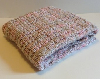 Hand knit pink and tan baby blanket/machine washable hand knitted baby blanket/car seat baby blanket/stroller baby blanket/crib baby blanket