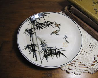 Small Porcelain Plate - Black Bamboo and Bird Pattern