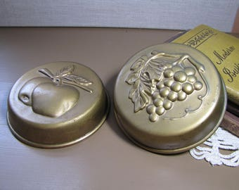 Set of Two (2) Decorative Brass Plated Copper Molds - Apples and Grapes
