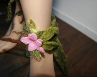 Woodland Folk Ankle Cuffs. Nymph Dreamy Felted Leg Warmers. OOAK Wearable Art. Flowers. Green and pink.Pixie Fairy Accessory. Cherry Blossom