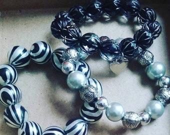 3-piece Zebra Beaded Bracelet Sets
