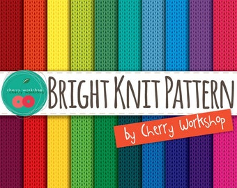 """Knitted Digital Paper """"Knit Brights"""" knitted pattern digital paper pack in bright colors for card making, scrapbooking, stationery and more"""