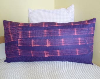 Rectangular cushion - Purple & Pink bazin