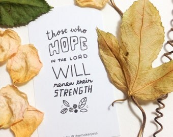 Hope Strength Encouraging Bible Verse Mini Bookmark (Pack of 10)