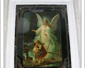 """antique back-glass picture """"Angel"""" with white frame"""