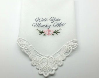 Will You Marry Me - on this beautiful Lace Cornered Handkerchief with Crochet Lace Edge, when you just can't find the words...
