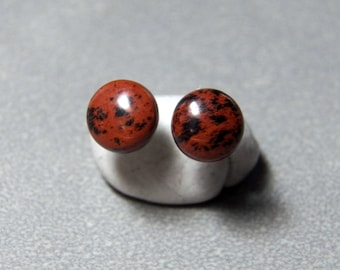 8mm Mahogany Obsidian Gemstone Post Earrings with Sterling Silver