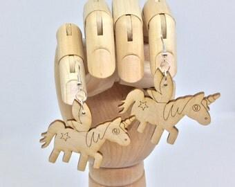 Wooden Unicorn Earrings, Unicorn Earrings, Wooden Earrings, Unicorns, Cute Earrings, Pegasus Earrings, Mystical Jewelry, Unicorn Jewelry