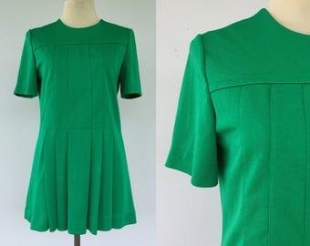 Vintage 60s Jonathan Logan Dress, Scooter Dress, 60s Green Dress, Mod Dress, Mini Dress, Size 6 8