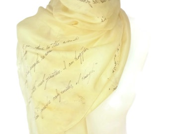 Pride and Prejudice Jane Austen Book Scarf,  Hand Painted Extra Large Silk Scarf 18X72inch Gift-Wrapped, READY to Ship Immediately