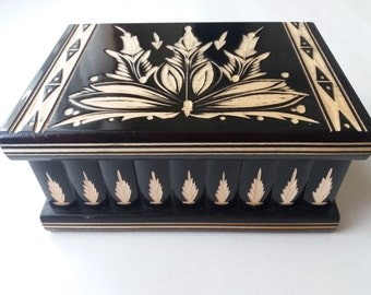 New big huge black wooden puzzle box secret treasure adventure mystery magic box jewelry storage wooden case beautiful handcarved box gift