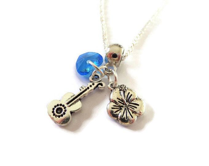 "Lilo & Stitch Ohana style inspired silver tone charm 20"" necklace guitar flower ohana means family gift Uk"