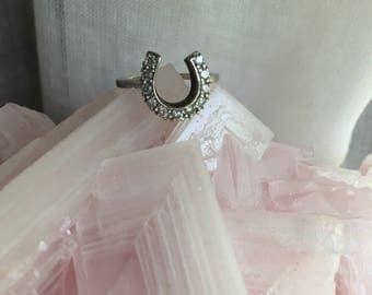 Vintage 10K White Gold Horseshoe Ring with 11 diamonds-lucky horseshoe-lucky 11-white gold horseshoe ring