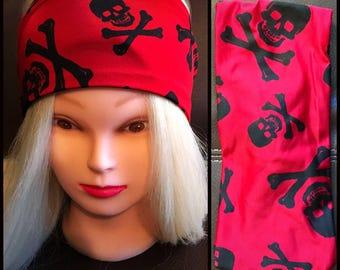 Red Skull Stretch Headband
