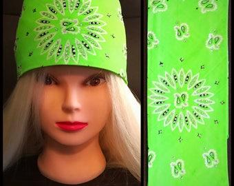 Lime Green Bling Bandana Full star