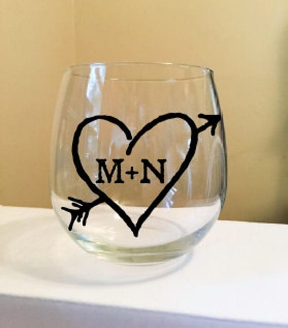 Heart with Initials Stemless Wine Glass