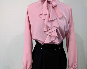 Vintage 1980's Dusty Rose Pink Ruffled Front With String Bow Tie 100% Georgette Polyester Blouse