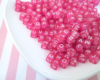 6.5mm Pink and White Alphabet Square Cube Beads, Acrylic Letter Mix, #1009
