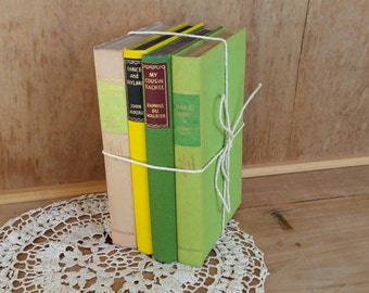Vintage book bundle/ green theme yellow accent/ 4 books from the 50's /display or read/ nice vintage condition