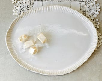 Flat Shiny White Serving Plate, Platter