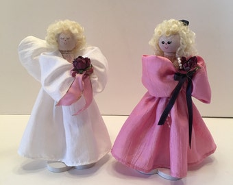 Clothespin Dolls~ Pink and White ~   Two Dolls ~ Vintage