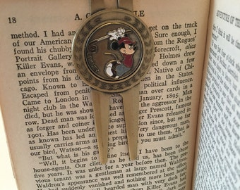 Disney Mickey Mouse Bookmark ~ Page Marker ~ Page Holder ~ Brass and Painted Enamel ~ Vintage