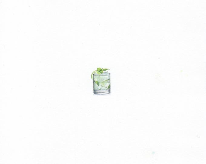 Original Miniature painting of a Chilled Mojito. Tiny painting, Chilled Mojito art 5 x 5