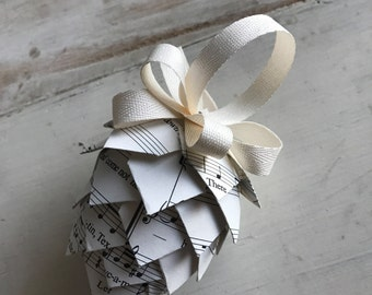 Paper Pinecone Ornament - Handmade from Vintage Sheet Music