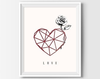 Valentines Gift For Him, Valentines Gift For Her, Love, Boyfriend Gift, Girlfriend Gift, Valentines Day Decor, Heart, Rose, Anniversary Gift