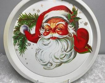 vintage plastic retro Santa Christmas tray