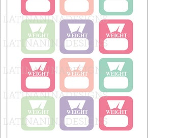 pastel weight tracker, scales, weight watcher, planner stickers, planning supplies, weighing stickers, kiss cut, happy planner, printed,