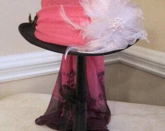 Black Top Hat Stevie Nicks  Inspired - Pink
