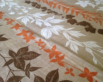 Vintage Large Swedish Linen Woven Botanical Leaves Tablecloth | Sweden Table Linens | Scandinavian Textile Home | Mid Century Modern Linen