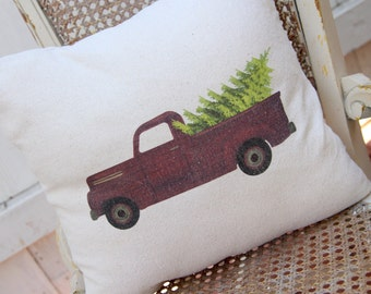 Christmas Pillow - Red truck and Christmas tree