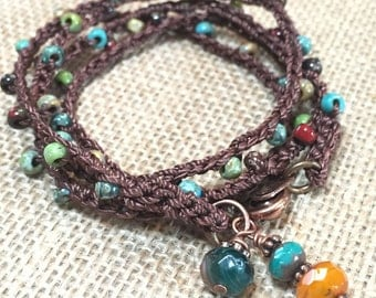 Wrap bracelet - boho crochet necklace - beaded crochet 4 x wrap bracelet -or- long boho necklace, multi color Bohemian beaded bracelet
