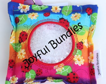 I Spy Bag, Lady Bugs, Rainbows, Girl themed trinkets, Eye Spy Game, Busy Bag, Travel Game, Seek and Find,
