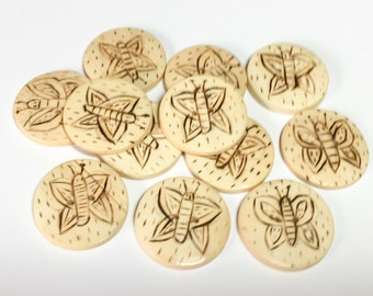 """Hand carved wood buttons, round wood buttons, wooden buttons, 3/4"""" wood buttons-12pc"""