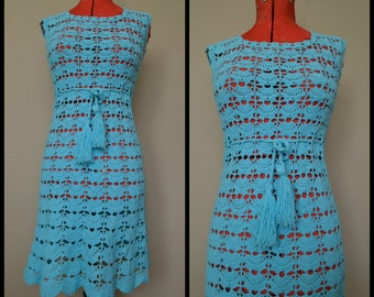 Vintage Turquoise 60's Handmade Crochet Midi Dress with Drawstring Waist Size Small