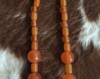 Vintage plastic summer orange necklace