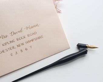 Calligraphy Wedding Envelopes | Wedding & Party Invitation Envelopes | Hand Addressed Envelopes | Blush envelopes with gold calligraphy