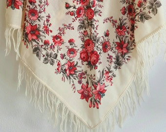 Vintage Floral Fringe Shawl / Scarf