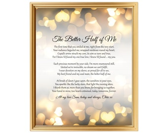 9th Wedding Anniversary Gift For Husband : Wedding Anniversary Gift Poem For Him Her Husband Wife Partner Silver ...