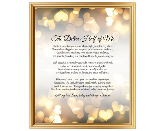 Wedding Anniversary Gift Poem For Him Her Husband Wife Partner
