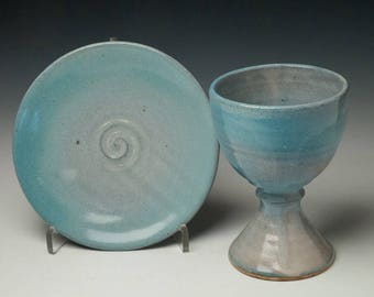 ceramic chalice and paten set, communionware