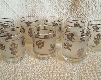 "Vintage Libby ""Silver Leaf"" Set of 8 Frosted Juice Glasses"