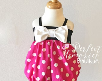 Pink Minnie Mouse Romper | Minnie Mouse Romper | Pink Minnie Romper | Baby Romper | Minnie Mouse Birthday Party | Minnie Mouse Costume